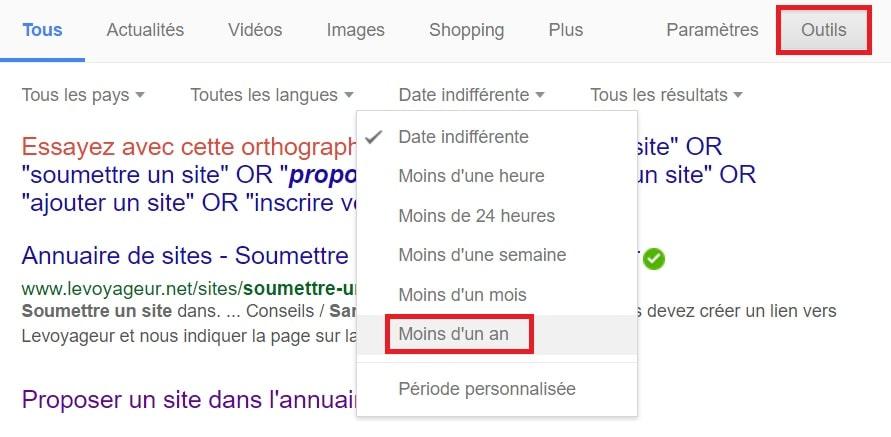 filtre date google